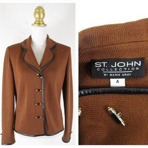 St. John Collection Brown Leather Trim Jacket 4